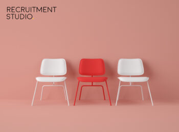 3D Illustration. Row of chairs with one with different colour.