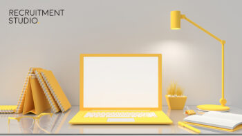 Laptop mock-up on table work desk  yellow color