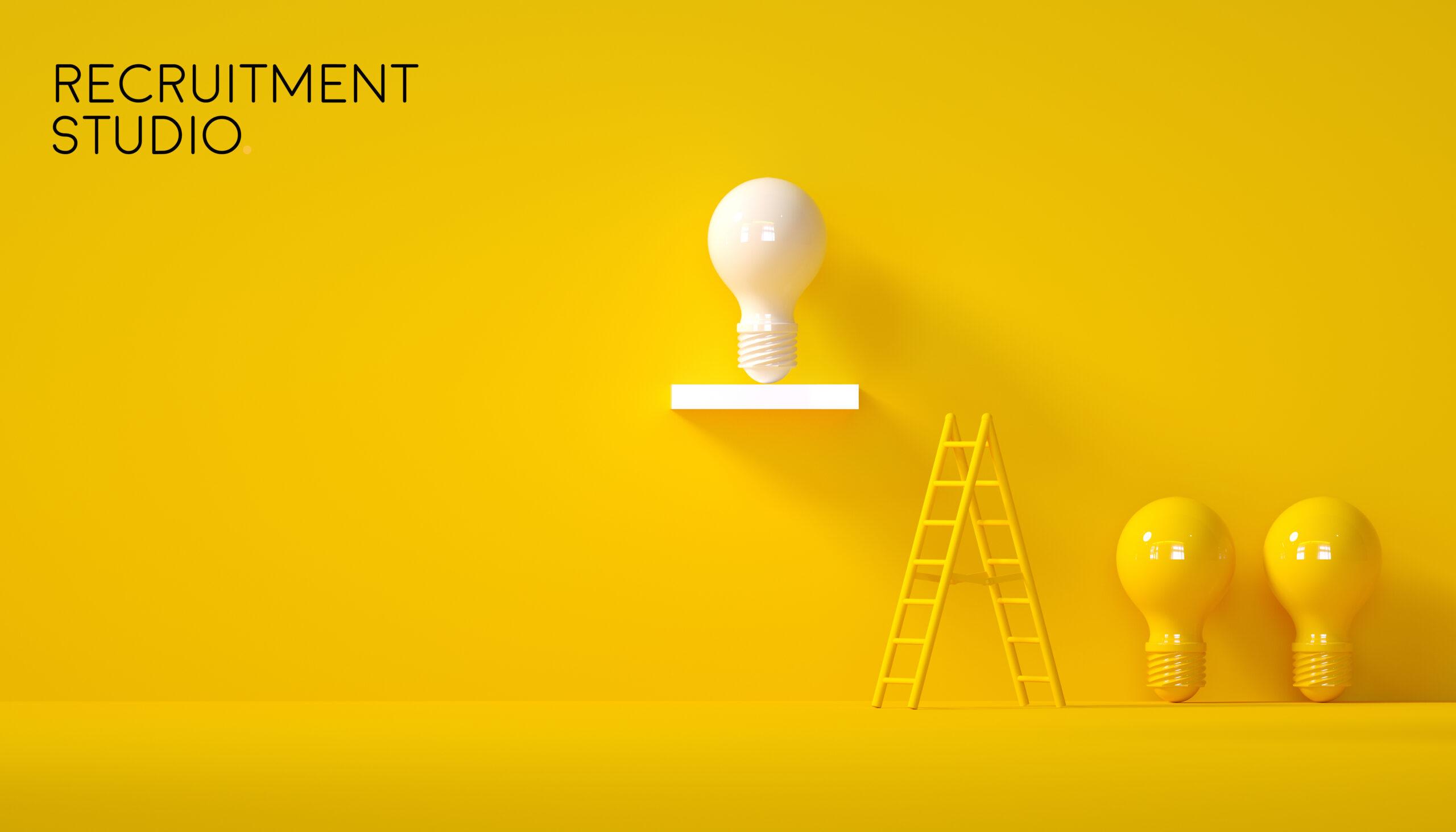 Minimal Idea Design Concept Successful white bulb on yellow past